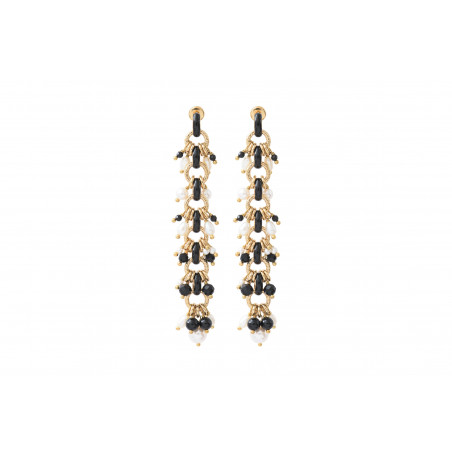 Boucles d'oreilles percées romantiques perles de rivière et onyx I noir
