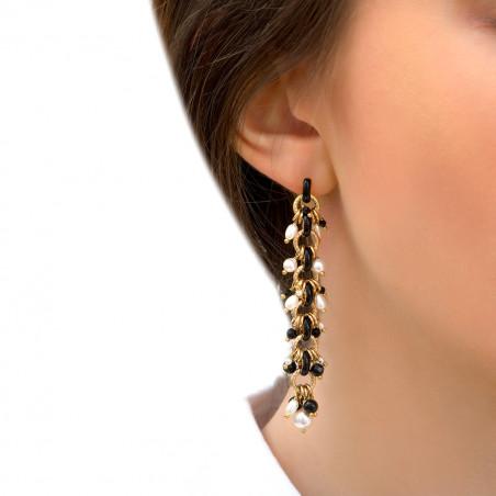 Boucles d'oreilles percées romantiques perles de rivière et onyx I noir85313