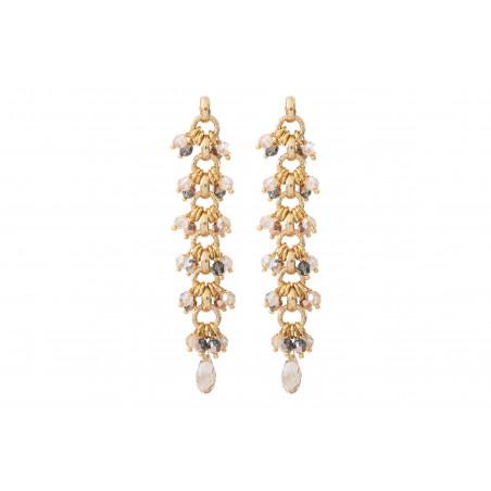 Boucles d'oreilles percées habillées perles cristal I doré