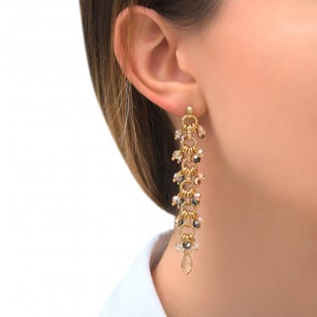 Boucles d'oreilles percées habillées perles cristal I doré85315