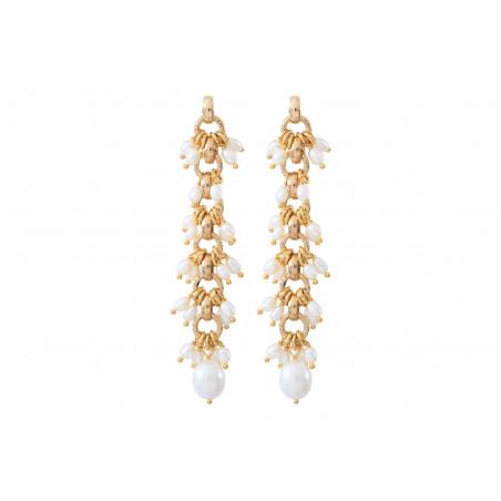 Boucles d'oreilles percées romantiques perles de rivière I blanc