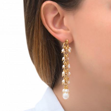 Boucles d'oreilles percées romantiques perles de rivière I blanc85317