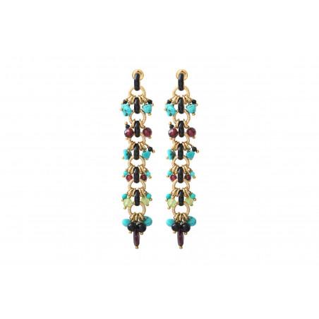 Boucles d'oreilles percées colorées turquoise onyx et grenat I bleu
