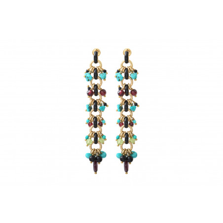 Colourful turquoise onyx and garnet earrings for pierced ears | blue