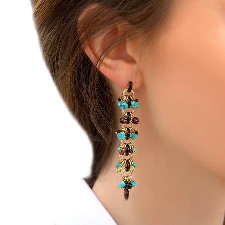Boucles d'oreilles percées colorées turquoise onyx et grenat I bleu85319