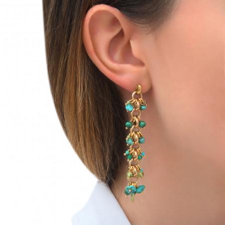 Boucles d'oreilles percées tendances agate malachite et turquoise I vert85321
