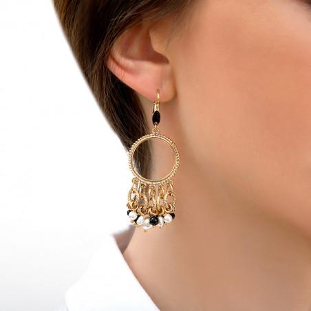 Boucles d'oreilles dormeuses graphiques perles de rivière et onyx I noir85323