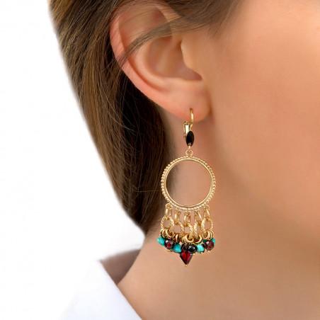 Boucles d'oreilles dormeuses arty grenat et turquoise I rouge85325