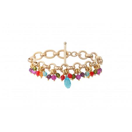 Bracelet souple fantaisie perles cristal I multicolore