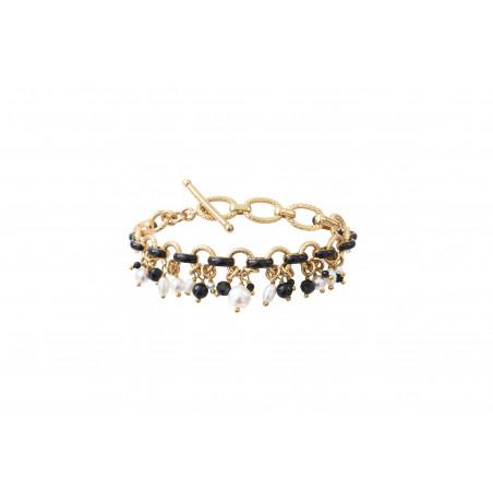 Bracelet souple moderne perles de rivière et onyx I noir