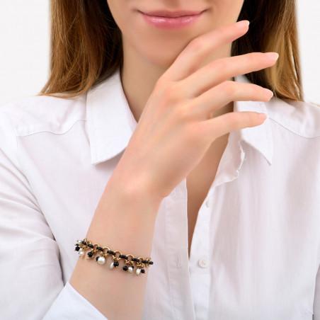 Bracelet souple moderne perles de rivière et onyx I noir85330