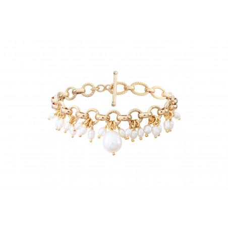 Bracelet souple élégant perles de rivière I blanc