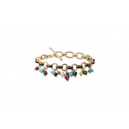 Bracelet souple coloré grenat onyx et turquoise I rouge