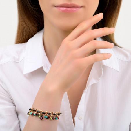 Bracelet souple coloré grenat onyx et turquoise I rouge85339