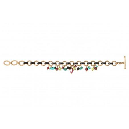 Bracelet souple coloré grenat onyx et turquoise I rouge85340