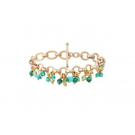 Bracelet souple festif turquoise agate et malachite I vert