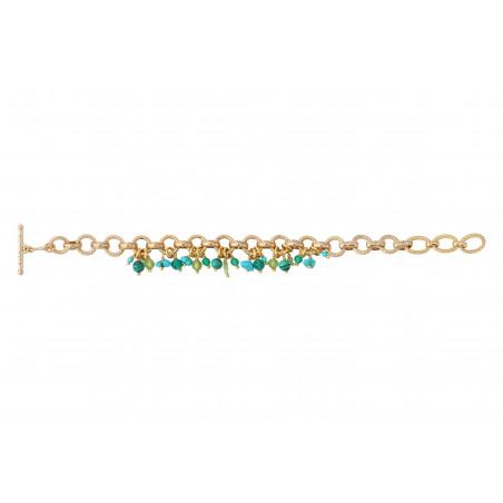 Bracelet souple festif turquoise agate et malachite I vert85343