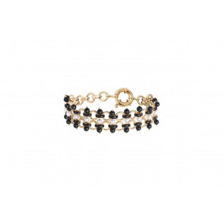 Bracelet souple graphique perles nacrées et onyx I noir