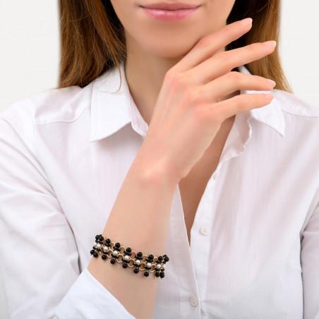 Bracelet souple graphique perles nacrées et onyx I noir 85345