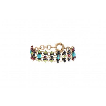 Bracelet souple audacieux turquoise grenat et onyx I bleu