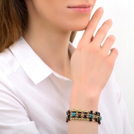 Bracelet souple audacieux turquoise grenat et onyx I bleu85348