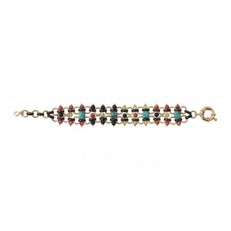 Bracelet souple audacieux turquoise grenat et onyx I bleu85349