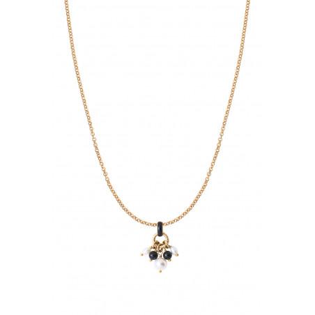 Pendentif raffiné perles de rivière et onyx I noir85356