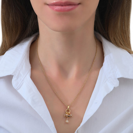 Pendentif baroque perles cristal I doré85359
