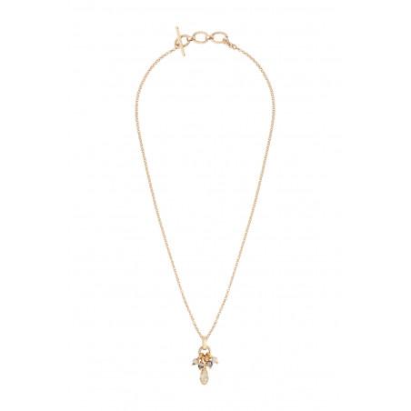 Pendentif baroque perles cristal I doré85361