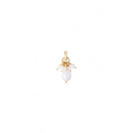 Pendentif romantique perles de rivière I blanc
