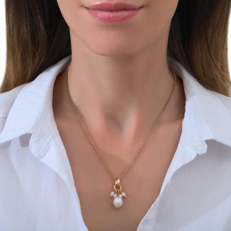 Pendentif romantique perles de rivière I blanc85363