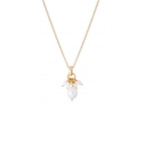 Pendentif romantique perles de rivière I blanc85364