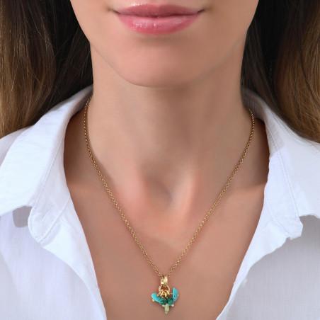Pendentif glamour turquoise péridot malachite I vert85370