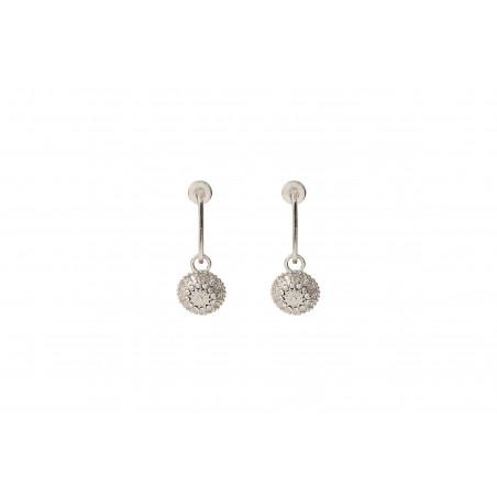 Boucles d'oreilles percées fantaisies métal et cristaux Prestige I argent