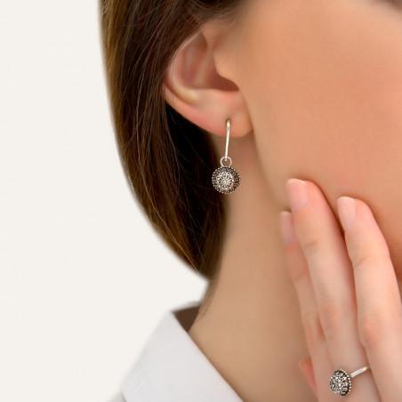 Boucles d'oreilles percées fantaisies métal et cristaux Prestige I argent85408