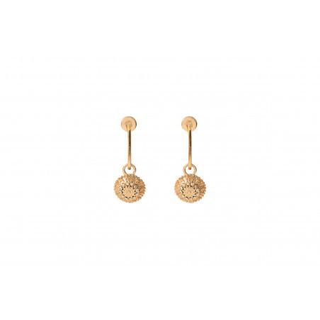 Boucles d'oreilles percées raffinées métal et cristaux Prestige I doré