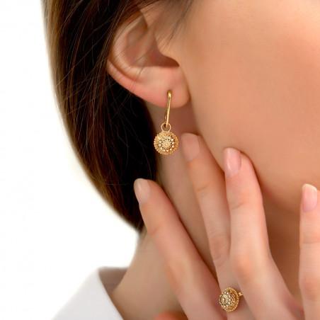 Boucles d'oreilles percées raffinées métal et cristaux Prestige I doré85410