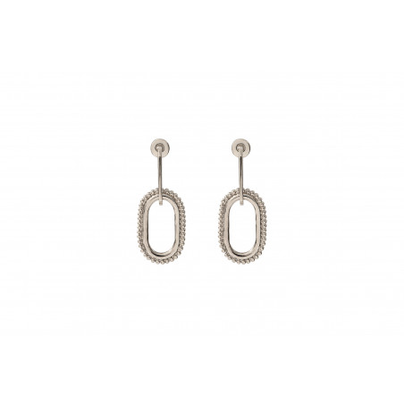 Boucles d'oreilles percées graphiques métal I argenté