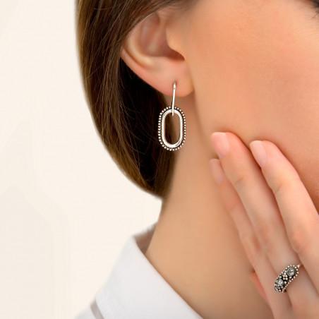 Boucles d'oreilles percées graphiques métal I argenté85412