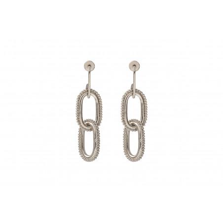 Boucles d'oreilles percées modernes métal I argenté