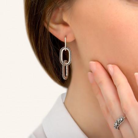 Boucles d'oreilles percées modernes métal I argenté85416