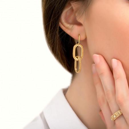 Boucles d'oreilles percées élégantes métal I doré85418