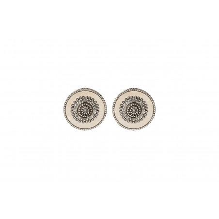 Boucles d'oreilles clips modernes métal et cristaux Prestige I argenté