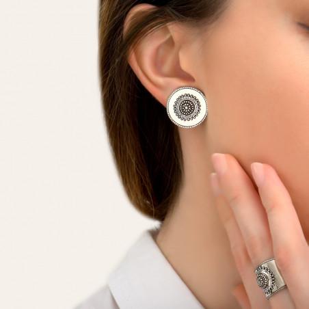 Boucles d'oreilles clips modernes métal et cristaux Prestige I argenté85420