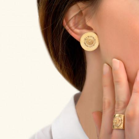 Boucles d'oreilles clips chics métal et cristaux Prestige I doré85422