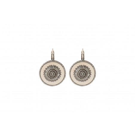 Boucles d'oreilles dormeuses modernes métal et cristaux Prestige I argenté