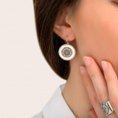 Boucles d'oreilles dormeuses modernes métal et cristaux Prestige I argenté85424