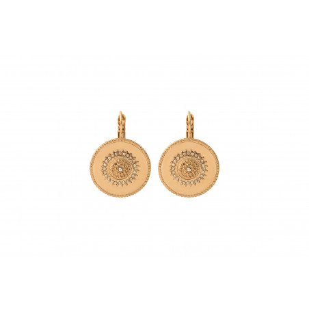 Boucles d'oreilles dormeuses chics métal et cristaux Prestige I doré