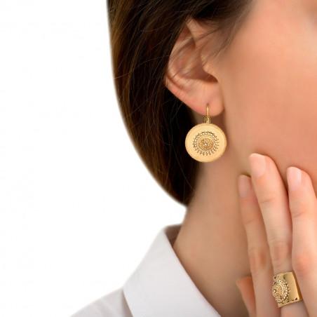 Boucles d'oreilles dormeuses chics métal et cristaux Prestige I doré85426