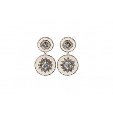 Boucles d'oreilles clips tendance métal et cristaux Prestige I argenté